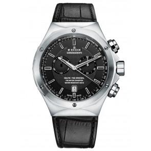 Edox correa de reloj 10107 Cuero Negro + costura negro
