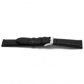 Correa de reloj de cuero tipo cocdrilo negra 20mm EX-G134