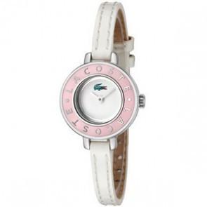 Lacoste correa de reloj LC-15-3-14-0083 / 2000390 Cuero Blanco 6mm + costura blanca