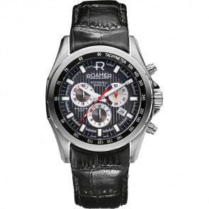 Roamer correa de reloj 220837-49-25-02 Cuero Negro 22mm + costura predeterminada