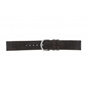 Olympic correa de reloj 26HSL057 Cuero Marrón oscuro 20mm + costura predeterminada