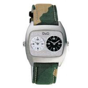 Dolce & Gabbana correa de reloj 3719240255 Cuero/Textil Verde 22mm + costura beige