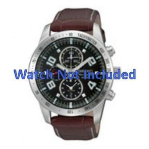 Seiko correa de reloj 7T62-0HX0 / SNAC11P1 / 4A332JL  Cuero Marrón 21mm + costura blanca