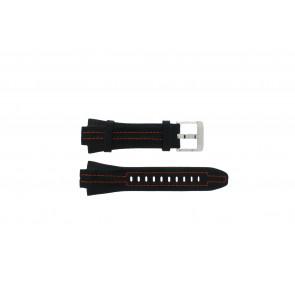 Seiko correa de reloj 7L22-0AD0 Piel Negro 15mm + costura naranja