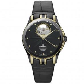 Correa de reloj Edox 85012 Cuero Negro