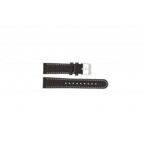 Olympic correa de reloj 89JAL004 Cuero Marrón 18mm + costura blanca