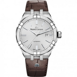 Correa de reloj Maurice Lacroix Aikon AI6008-SS001-130-1 Cuero Marrón 25mm