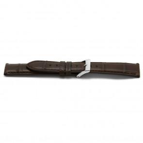 Correa de reloj de cuero tipo cocodrilo marrón  20mm EX-G334