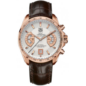 Correa de reloj Tag Heuer CAV514B / BX0849 / BX0870 XL Cuero de cocodrilo Marrón 22mm