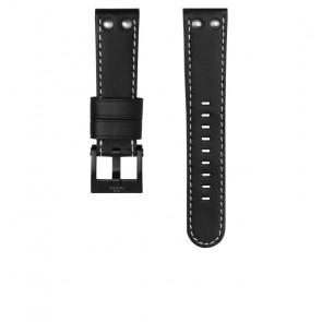 TW Steel correa de reloj CEB107 Cuero Negro 22mm + costura blanca