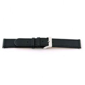 Correa de reloj de cuero genuino 20mm negra con costuras EX-J46