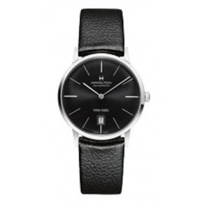 Correa de reloj Hamilton H384551 / H38455751 / H600384105 Cuero Negro 20mm