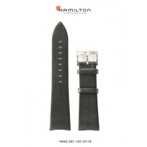 Correa de reloj Hamilton H38755731 Cuero Negro 22mm