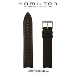 Correa de reloj Hamilton H776350 / H001.77.635.333.01 Cuero Negro 21mm