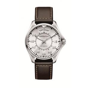 Correa de reloj Hamilton H64615555 Cuero Marrón oscuro 20mm