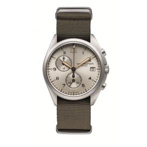 Correa de reloj Hamilton H76552955 Textil Gris pardo 22mm