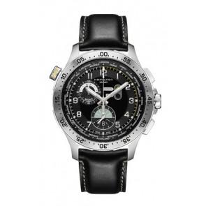 Correa de reloj Hamilton H76714735 Cuero Negro 22mm