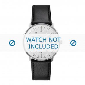 Junghans correa de reloj 027/4700.00 Cuero Negro 20mm + costura predeterminada