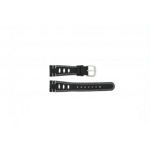 Lorus correa de reloj 19x14 Cuero Negro 19mm + costura blanca