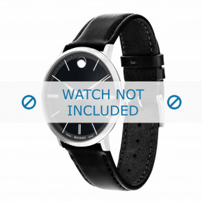 Movado correa de reloj 0607086 Cuero Negro 20mm + costura predeterminada