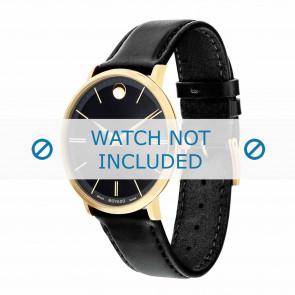 Movado correa de reloj 0607087 Cuero Negro 20mm + costura predeterminada