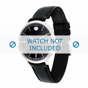 Movado correa de reloj 0607090 Cuero Negro 16mm + costura predeterminada