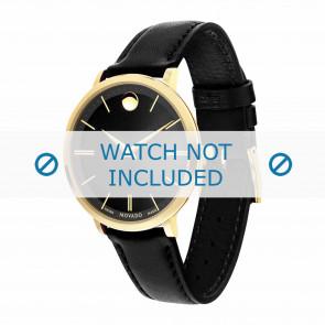 Movado correa de reloj 0607091 Cuero Negro 16mm + costura predeterminada