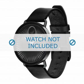 Movado correa de reloj 3680039 Cuero Negro 20mm