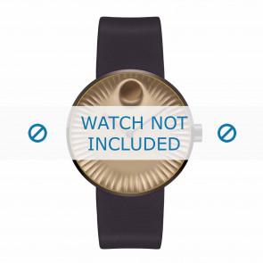 Movado correa de reloj 3680043 Silicona Marrón oscuro 22mm