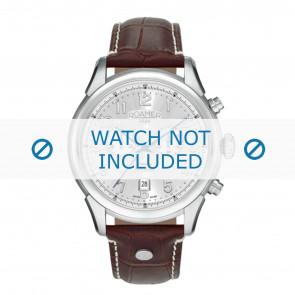 Roamer correa de reloj 540951-41-16-05 Cuero Marrón 22mm + costura blanca
