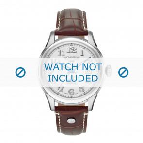 Roamer correa de reloj 545660-41-16-05 Cuero Marrón 18mm + costura blanca