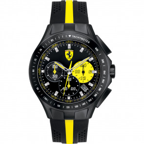 Ferrari correa de reloj ST830025 / 689300020 Caucho Negro 22mm