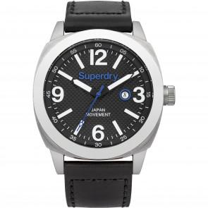 Correa de reloj Superdry SYG144BB Cuero Negro 24mm