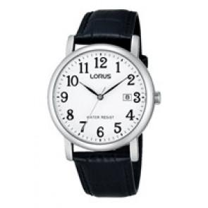 Lorus correa de reloj VJ32 X246 Cuero Negro 20mm + costura negro