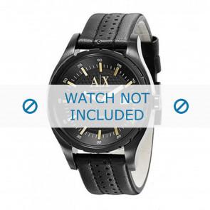 Armani correa de reloj AX1091 Cuero Negro 22mm + costura negro