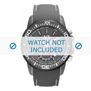 Armani correa de reloj AX1202 Caucho Gris + costura blanca