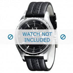 Armani correa de reloj AX-1055 Piel Negro 22mm