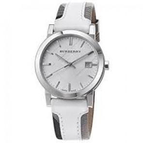 Correa de reloj Burberry BU9019 Cuero Blanco