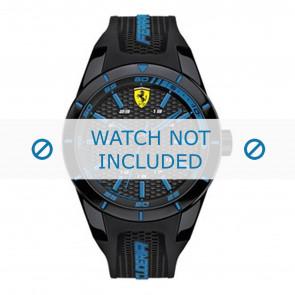 Ferrari correa de reloj SF0830247-689300184 Caucho / plástico Negro + costura azul