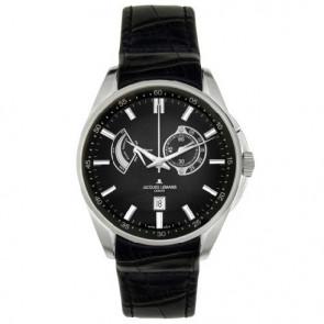 Jacques Lemans correa de reloj G175 Cuero Negro 22mm + costura negro
