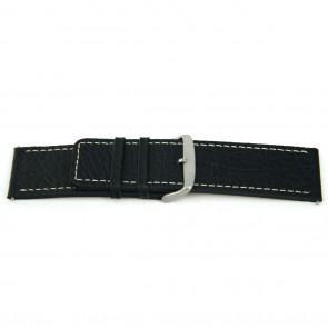 Correa de reloj de cuero genuino para relojes en negro con costuras blancas 22mm EX-H79