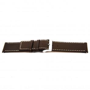 Correa de reloj N310 Cuero Marrón oscuro 34mm + costura blanca
