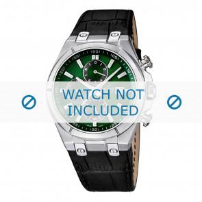 Jaguar correa de reloj J667/3 / J667/4 Cuero Negro 28mm + costura negro