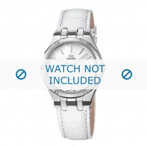 Jaguar correa de reloj J674-1 / J674-7 Cuero Blanco + costura blanca