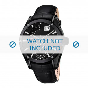 Jaguar correa de reloj J681-A / J681-B Cuero Negro + costura negro