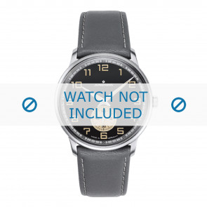 Junghans correa de reloj 027/3607.00 Cuero Gris 20mm + costura blanca