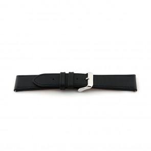 Correa de reloj de cuero extra largo negro 24mm EX-K63487