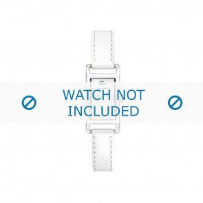 Lacoste correa de reloj 2000367 / LC-05-3-19-0066 Cuero Blanco 12mm + costura blanca