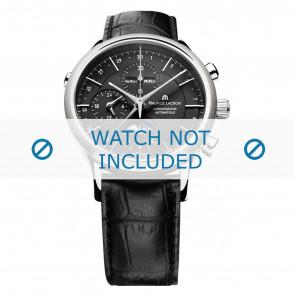 Maurice Lacroix correa de reloj LC6078-SS001-331 Cuero Negro + costura negro