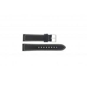 Max correa de reloj Z22 Cuero Negro 22mm + costura blanca
